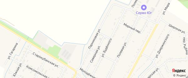 Парниковая улица на карте аула Хатукая с номерами домов