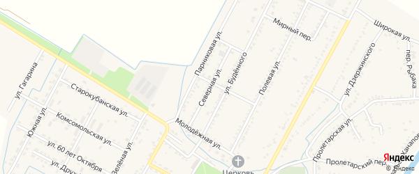 Северная улица на карте аула Хатукая с номерами домов