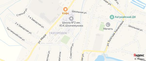 Школьный переулок на карте аула Хатукая с номерами домов