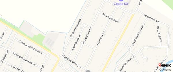 Улица Буденного на карте аула Хатукая с номерами домов