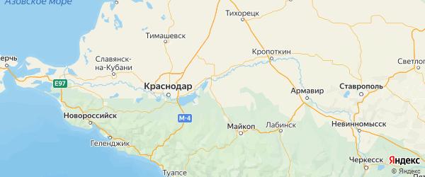 Карта Красногвардейского района республики Адыгея с городами и населенными пунктами