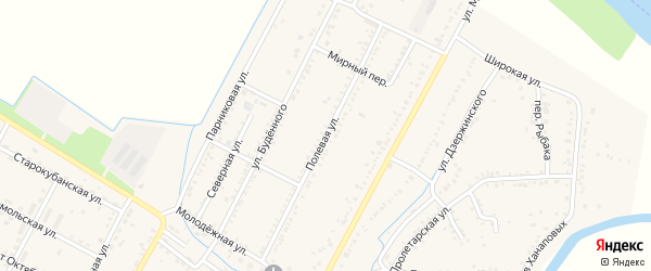 Полевая улица на карте аула Хатукая с номерами домов