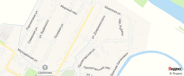 Улица Дзержинского на карте аула Хатукая с номерами домов