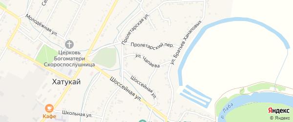 Улица Чапаева на карте аула Хатукая с номерами домов