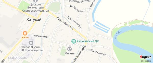 Шоссейная улица на карте аула Хатукая с номерами домов