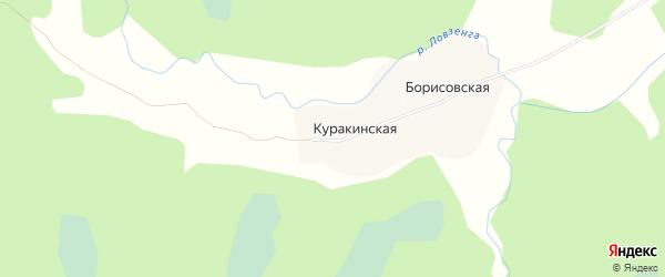 Карта Куракинской деревни в Архангельской области с улицами и номерами домов