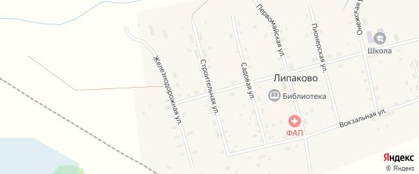 Строительная улица на карте поселка Липаково с номерами домов