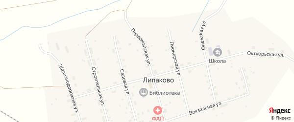 Первомайская улица на карте поселка Липаково с номерами домов