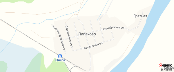 Карта поселка Липаково в Архангельской области с улицами и номерами домов