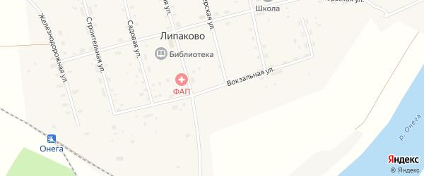 Вокзальная улица на карте поселка Липаково с номерами домов