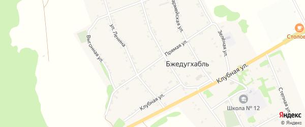 Прямая улица на карте аула Бжедугхабля с номерами домов
