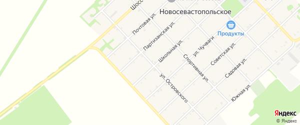 Улица Островского на карте Новосевастопольского села с номерами домов