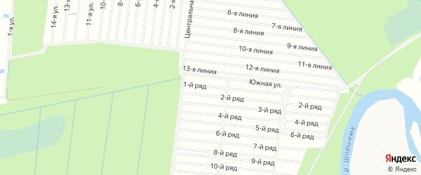 СНТ УЙМА на карте Северодвинска с номерами домов