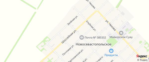 Шоссейная улица на карте Новосевастопольского села с номерами домов