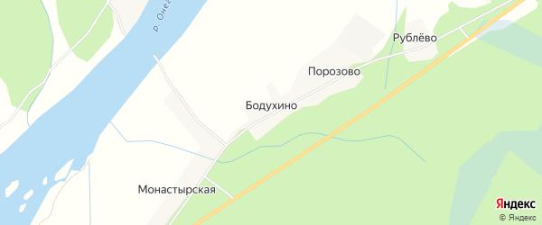 Карта деревни Бодухино в Архангельской области с улицами и номерами домов