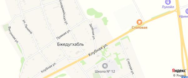 Зеленая улица на карте аула Бжедугхабля с номерами домов