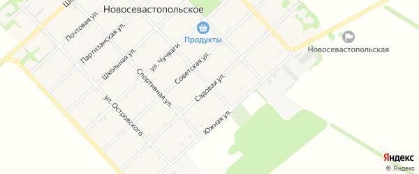 Садовая улица на карте Новосевастопольского села с номерами домов