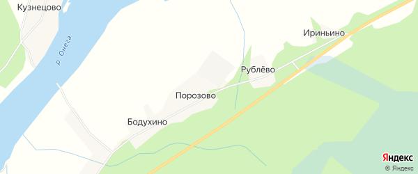 Карта деревни Порозово в Архангельской области с улицами и номерами домов