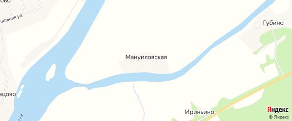 Карта Мануиловской деревни в Архангельской области с улицами и номерами домов