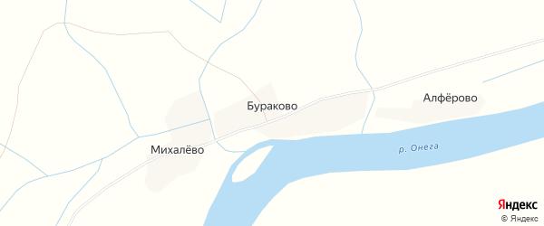 Карта деревни Бураково в Архангельской области с улицами и номерами домов
