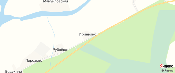 Карта деревни Ириньино в Архангельской области с улицами и номерами домов