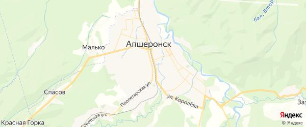 Карта Апшеронска с районами, улицами и номерами домов