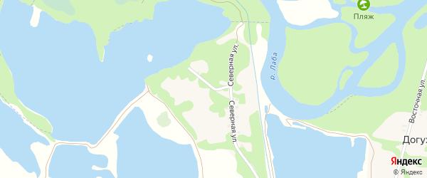 Северная улица на карте хутора Догужиева с номерами домов