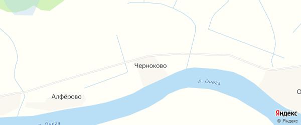 Карта деревни Черноково в Архангельской области с улицами и номерами домов