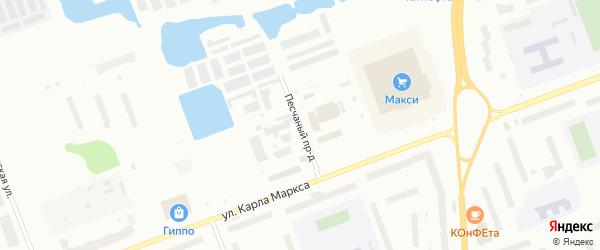 Песчаный проезд на карте Северодвинска с номерами домов