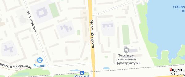 Морской проспект на карте Северодвинска с номерами домов