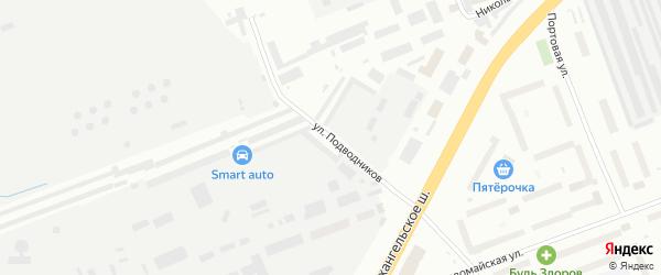 Улица Подводников на карте Северодвинска с номерами домов