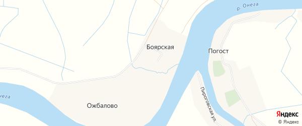 Карта Боярской деревни в Архангельской области с улицами и номерами домов