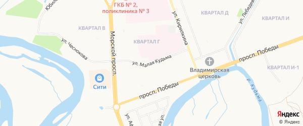 Карта деревни Большей Кудьмы города Северодвинска в Архангельской области с улицами и номерами домов