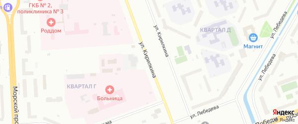 Улица Кирилкина на карте Северодвинска с номерами домов