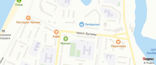 Проспект Бутомы на карте Северодвинска с номерами домов