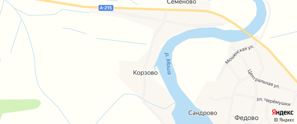 Карта деревни Корзово в Архангельской области с улицами и номерами домов