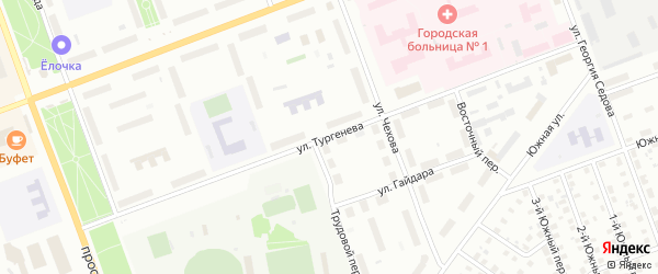 Улица Тургенева на карте Северодвинска с номерами домов