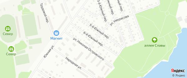 Южный 6-й переулок на карте Северодвинска с номерами домов