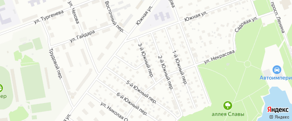 Южный 3-й переулок на карте Северодвинска с номерами домов