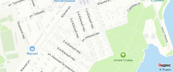 Южный 2-й переулок на карте Северодвинска с номерами домов