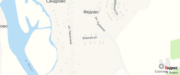 Южная улица на карте села Федово с номерами домов