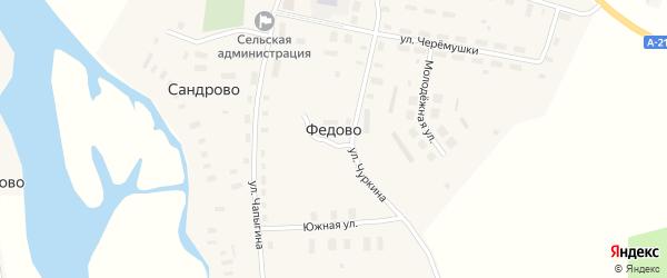Школьный переулок на карте села Федово с номерами домов