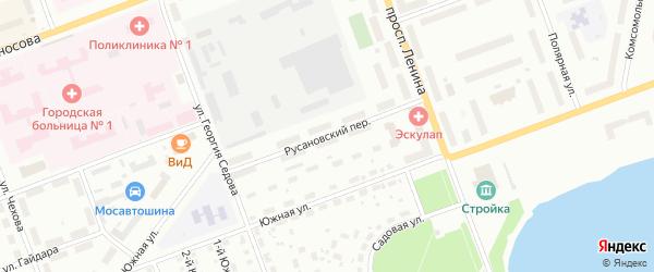 Русановский переулок на карте Северодвинска с номерами домов
