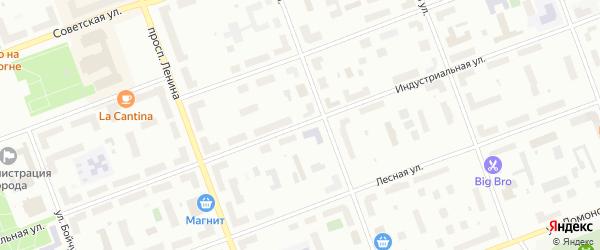 Индустриальная улица на карте Северодвинска с номерами домов