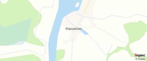 Карта деревни Коршакова в Архангельской области с улицами и номерами домов