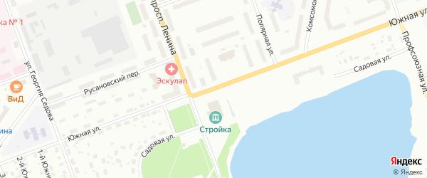 Южная улица на карте деревни Солза с номерами домов