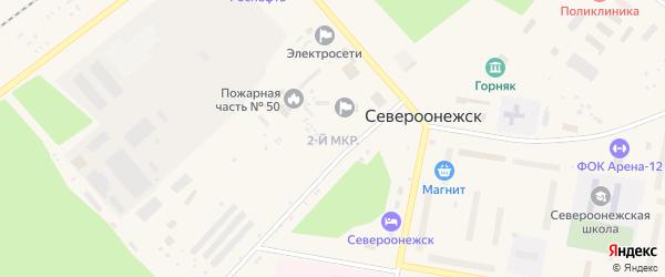 2-й микрорайон на карте поселка Североонежска с номерами домов