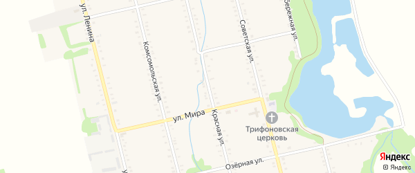 Красная улица на карте Большесидоровского села с номерами домов