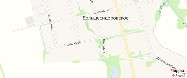 Садовая улица на карте Большесидоровского села с номерами домов