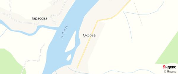 Карта деревни Оксова в Архангельской области с улицами и номерами домов